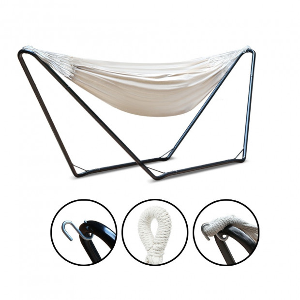 Free Standing Hammock Bed with Steel Frame - Cream model c Image 3