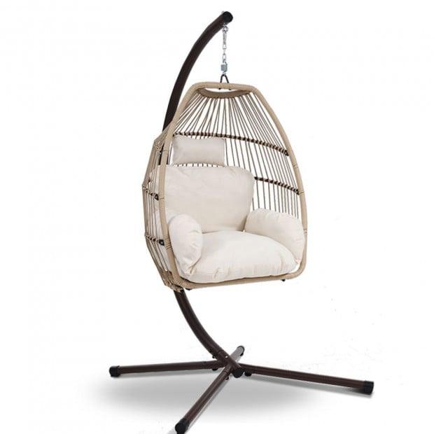 Outdoor Furniture Egg Hanging Swing Chair Wicker Rattan Hammock Latte Hammocks And Swing Chairs