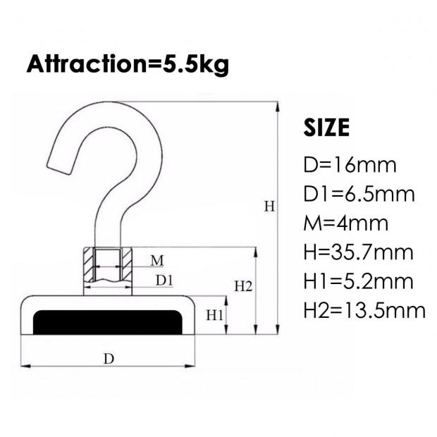 10x 5.5kg Strong Magnet Hooks Rare Earth Neodymium Magnetic Hanger Image 3