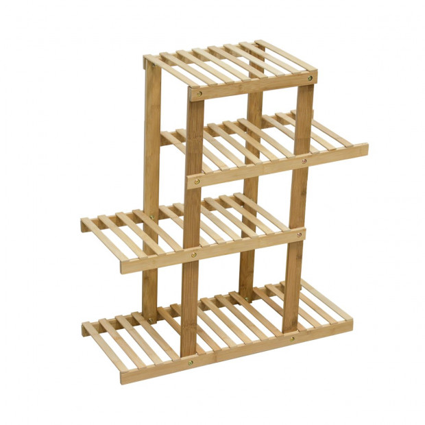 4 Tiers Bamboo Plant Flower Stand Shelf