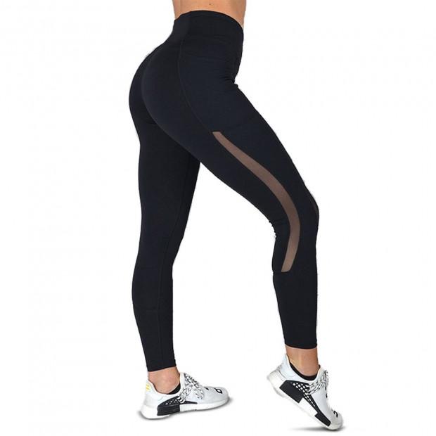 Women High Waist Yoga Pants Black  - Extra Large