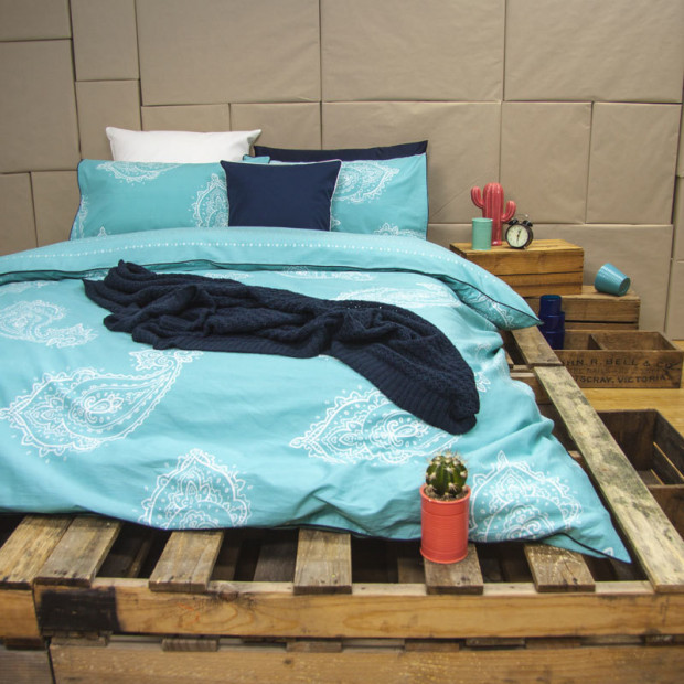 Paize - Turquoise Reversible Quilt Cover Set 100% Cotton