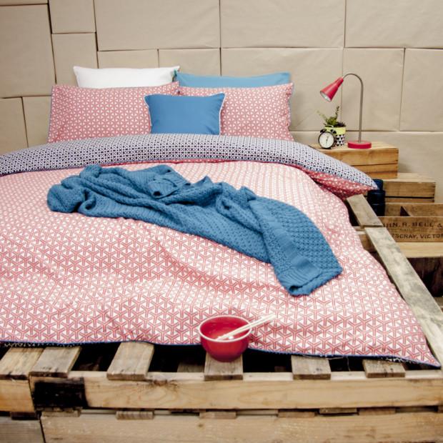 Perri Navy - Reversible Quilt Cover Set 100% Cotton