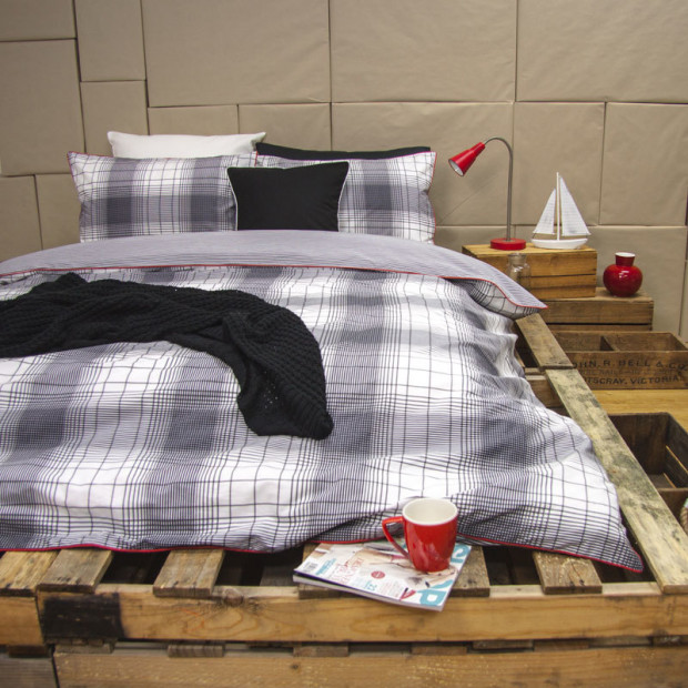 Wade Grey - Reversible Quilt Cover Set 100% Cotton