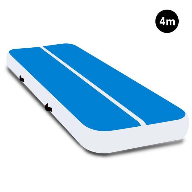 4m x 2m Airtrack Tumbling Mat Gymnastics Exercise Air Track Blue White