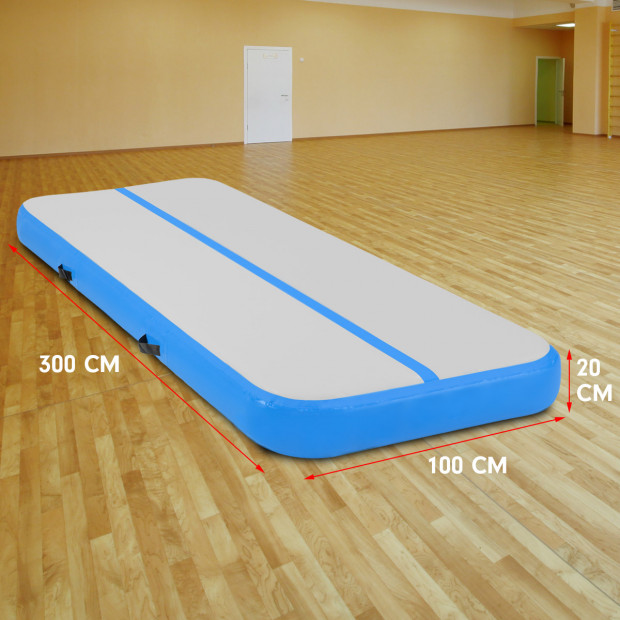 3m x 1m Air Track Inflatable Gymnastics Tumbling Mat - Blue Image 5