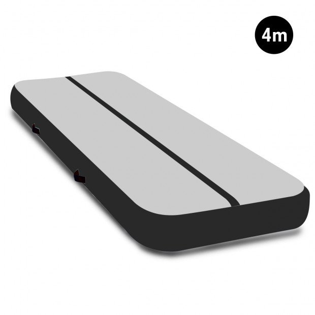 4m x 2m Airtrack Tumbling Mat Gymnastics Exercise Air Track Grey Black