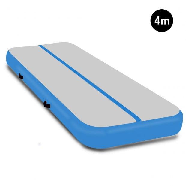 4m x 2m Airtrack Tumbling Mat Gymnastics Exercise Air Track Grey Blue