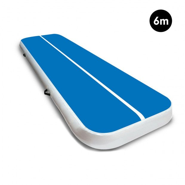 6m Airtrack Tumbling Mat Gymnastics Exercise 20cm Air Track Blue White