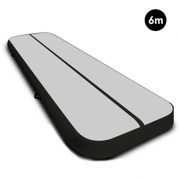 6m x 2m Airtrack Tumbling Mat Gymnastics Exercise Air Track Grey Black