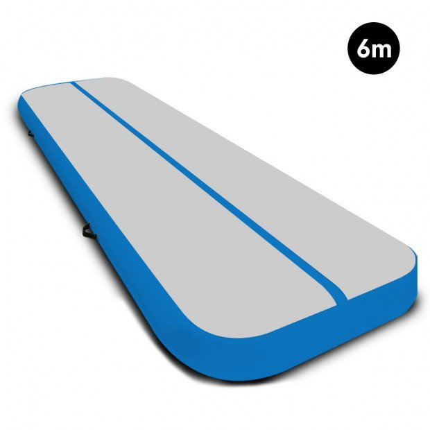6m x 2m Airtrack Tumbling Mat Gymnastics Exercise Air Track Grey Blue