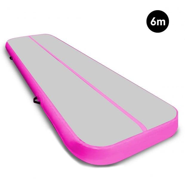 6m x 2m Airtrack Tumbling Mat Gymnastics Exercise Air Track Grey Pink