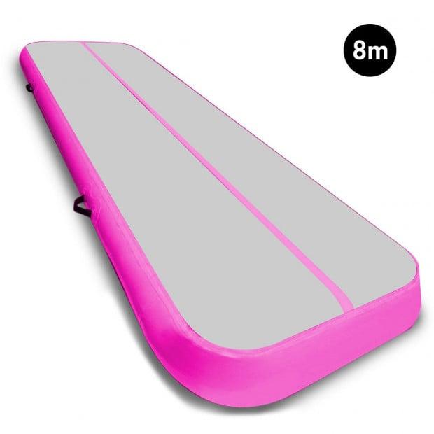 8m Airtrack Tumbling Mat Gymnastics Exercise 20cm Air Track Grey Pink