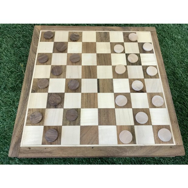 Portable Carved Wooden Chess And Checker Board Set Image 4