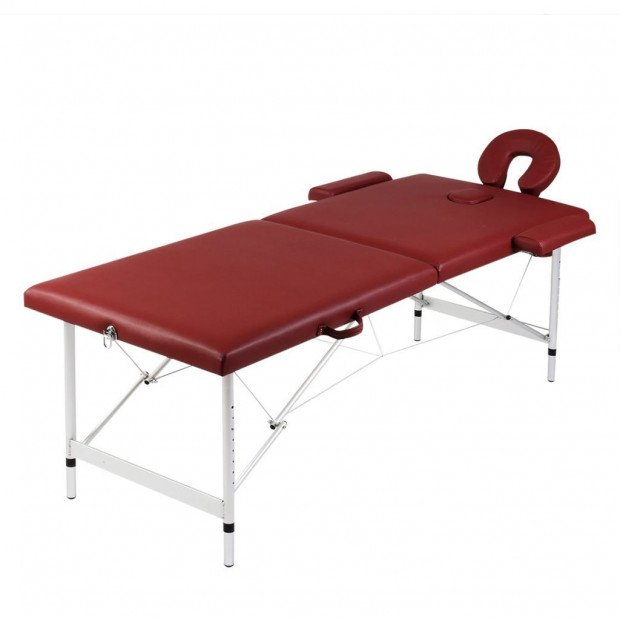 Red Foldable Massage Table 2 Zones with Aluminium Frame