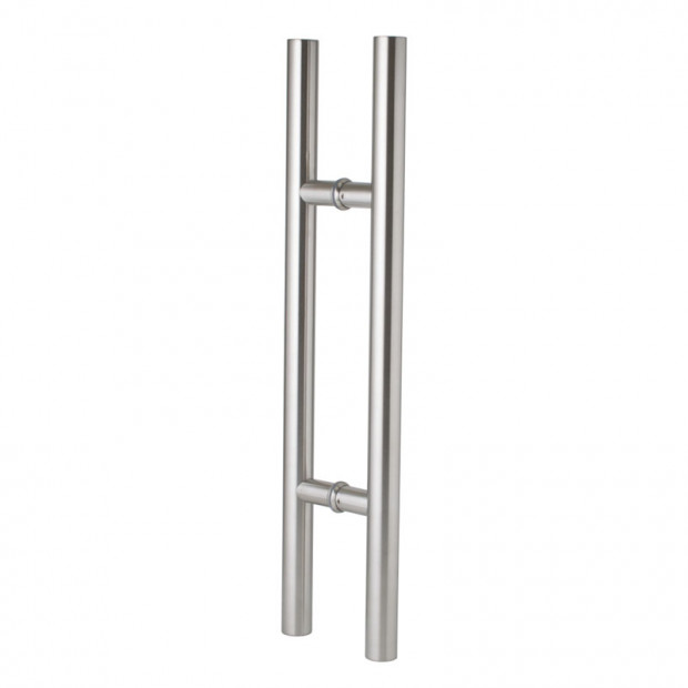 600mm Entrance Door Handle Pull Set Round Stainless Steel