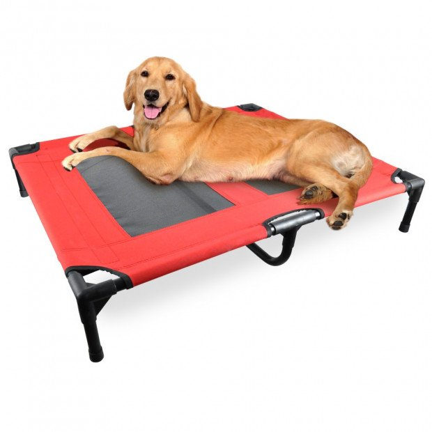 Heavy Duty Pet Dog Bed Trampoline Hammock Canvas Cat Puppy Cover Red S