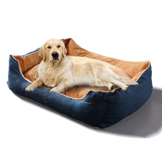 Soft Lining Washable Pet Bed Mat Cushion Blue L-size