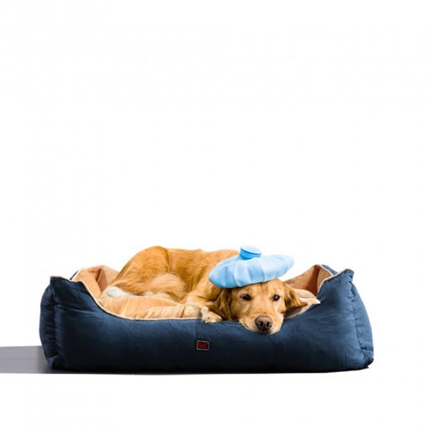 Soft Lining Washable Pet Bed Mat Cushion Blue M-size Image 1