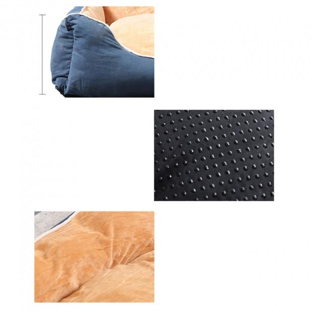 Soft Lining Washable Pet Bed Mat Cushion Blue M-size Image 3