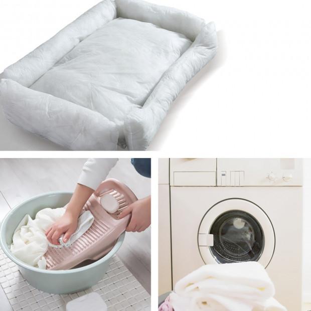 Soft Lining Washable Pet Bed Mat Cushion Blue M-size Image 4