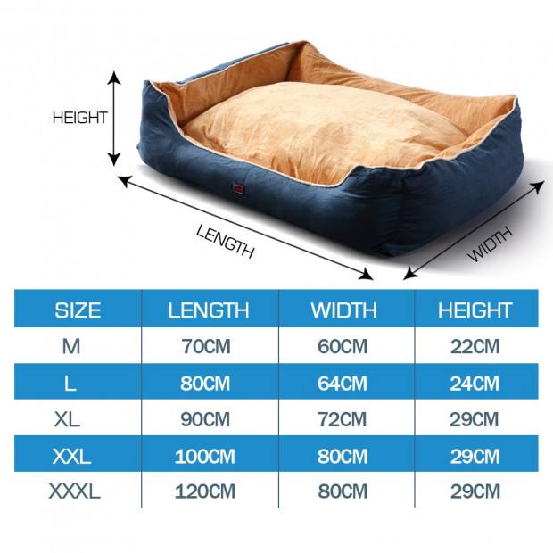 Soft Lining Washable Pet Bed Mat Cushion Blue M-size Image 5