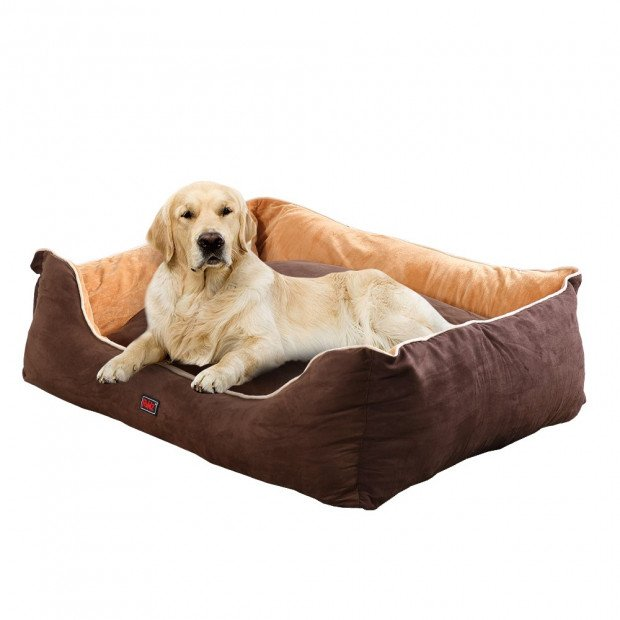 Soft Lining Washable Pet Bed Mat Cushion Brown M Size