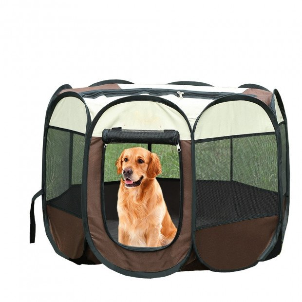 Portable Pet Playpen With Collapsible Bowl In Brown 48