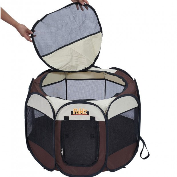 Portable Pet Playpen With Collapsible Bowl In Brown 62