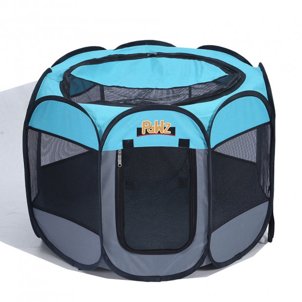 Portable Pet Playpen With Collapsible Bowl In Blue 48