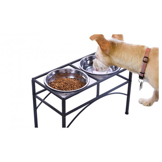 Dual Elevated Raised Pet Feeder Bowl Stainless - Large