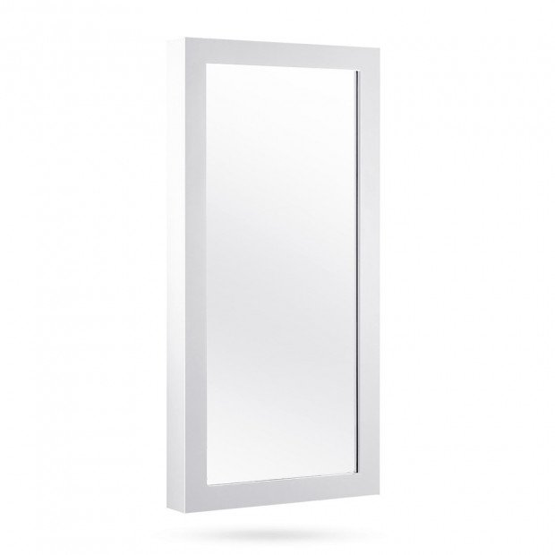 Wall Mounted Mirror with Jewellery Cabinet - White