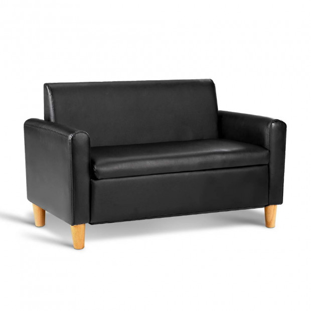 Kids PU Leather Double Arm Chair - Black