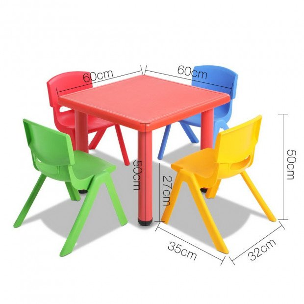 5 Pcs - Kids Table and Chairs Playset - Red Image 2