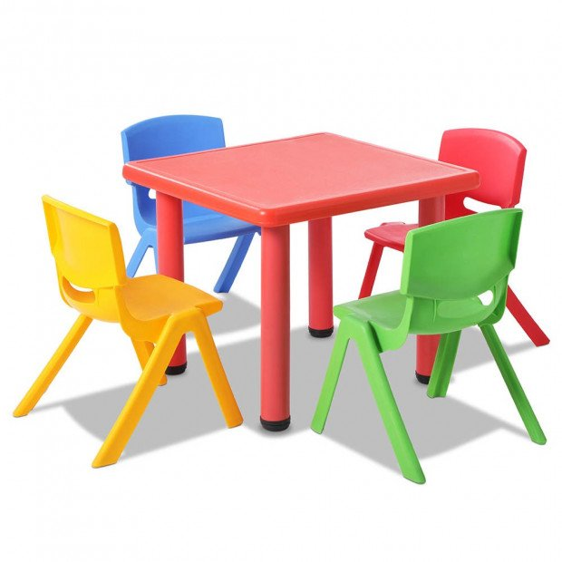 5 Pcs - Kids Table and Chairs Playset - Red Image 3