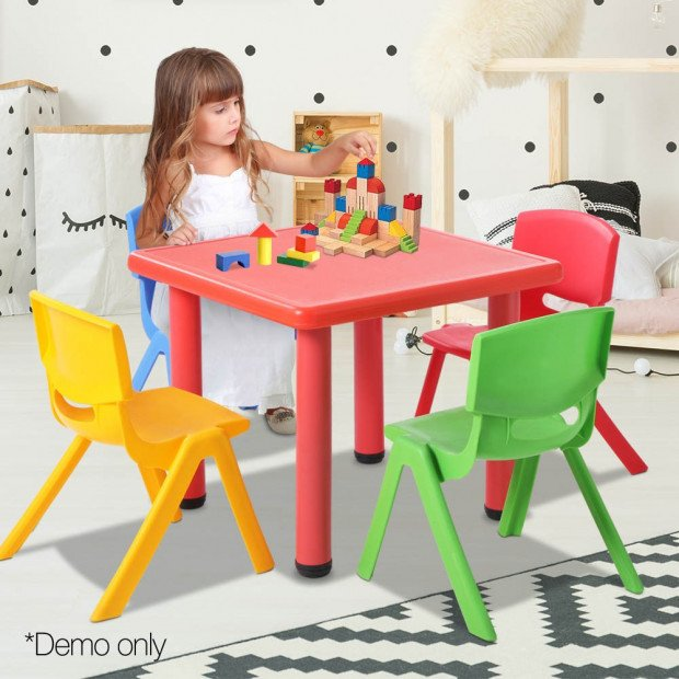 5 Pcs - Kids Table and Chairs Playset - Red Image 12