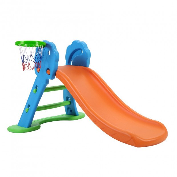 Kids Slide with Basketball Hoop with Ladder Base Outdoor Playground