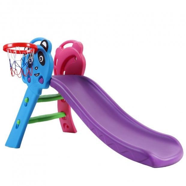 Kids Slide with Basketball Hoop Outdoor Indoor Playground Toddler Play