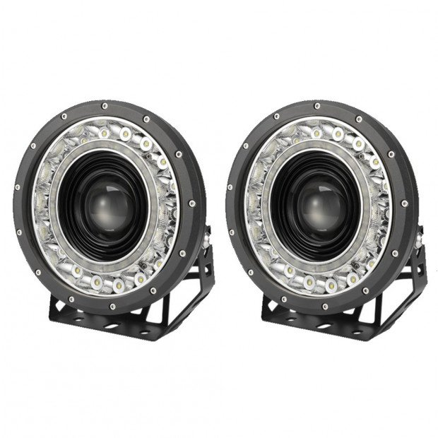 Pair 9 inch CREE LED Driving Lights Spot Round Black  4x4 SUV
