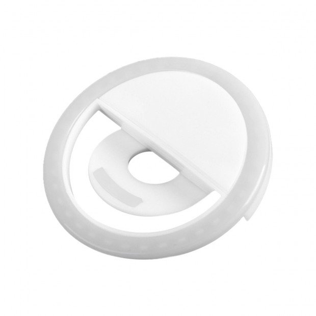 Rechargeable Led Selfie Ring Light For Samsung Iphone - White