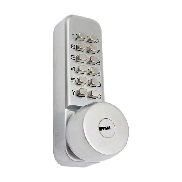 Push Button Digital Mechanical Combination Security Door Lock Chrome Image 2