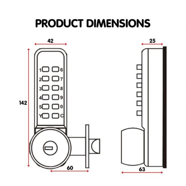 Push Button Digital Mechanical Combination Security Door Lock Chrome Image 5