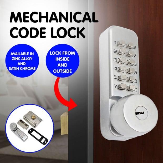 Push Button Digital Mechanical Combination Security Door Lock Chrome Image 7