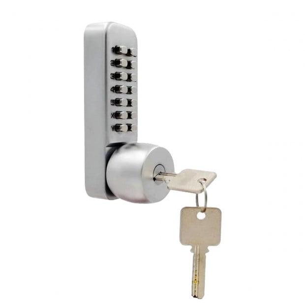 Push Button Digital Mechanical Combination Security Door Lock Chrome Image 1
