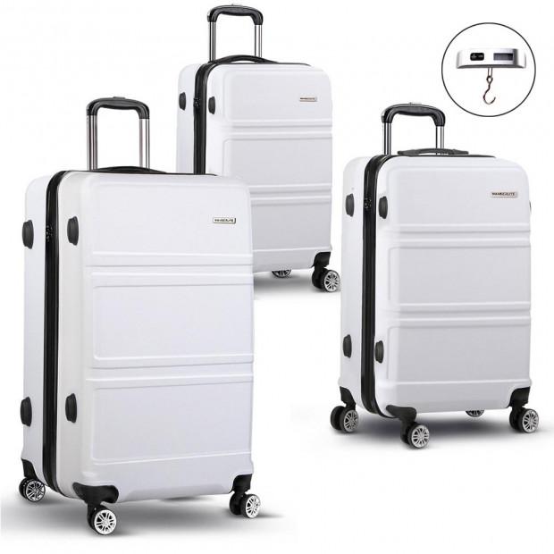 Wanderlite 3 Piece Lightweight Luggage Suitcase -White