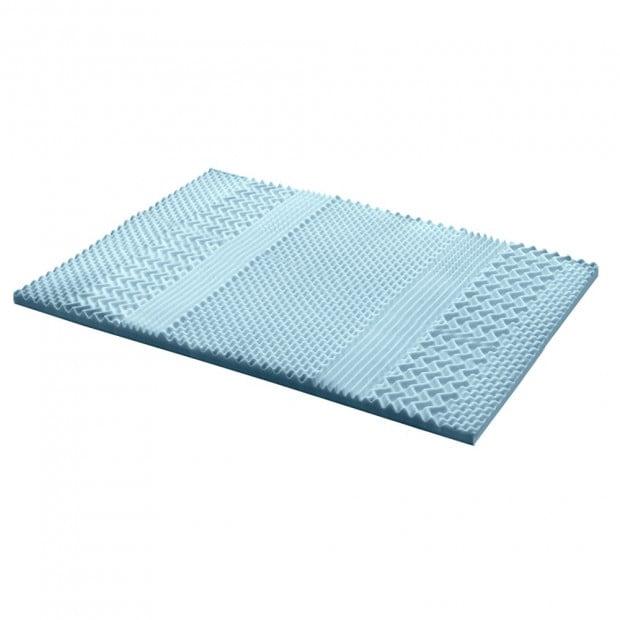 Cool Gel Memory Foam Mattress Topper Bamboo Cover 5CM 7-Zone Double