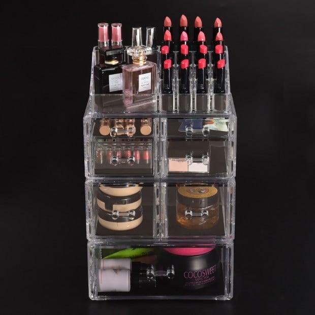 Clear Acrylic Cosmetic Organizer Jewellery Storage Box With 7 Drawers
