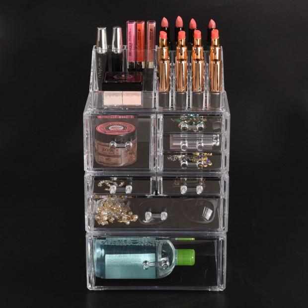 Clear Acrylic Cosmetic Organizer Jewellery Storage Box With 8 Drawers
