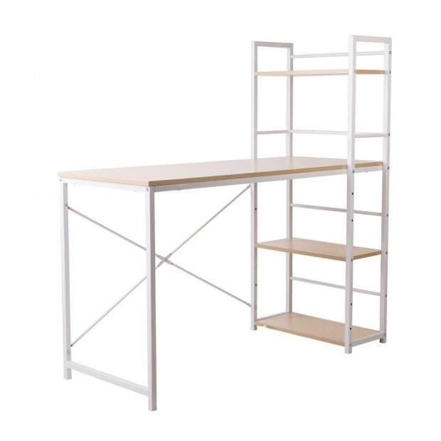 Artiss Metal Desk with Shelves - White with Oak Top Image 1