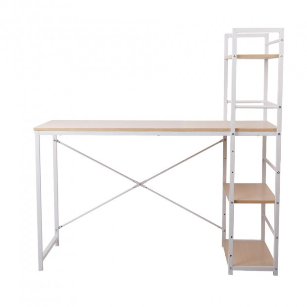 Artiss Metal Desk with Shelves - White with Oak Top Image 2